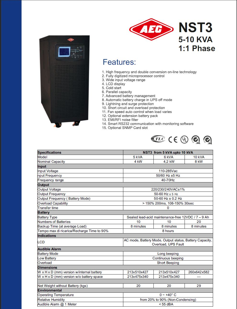 Szünetmentes tápegység, szünetmentes áramforrás, UPS - AEC NST3 5-10kVA